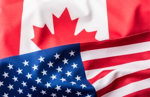 USA and Canada. USA flag and Canada flagUSA and Canada. USA flag and Canada flag