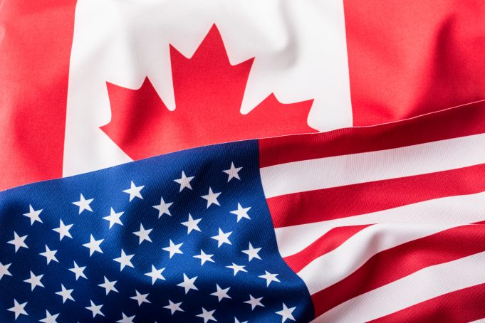 USA and Canada. USA flag and Canada flagUSA and Canada. USA flag and Canada flag