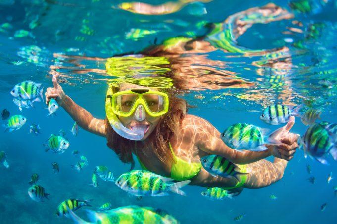 Girl in snorkeling
